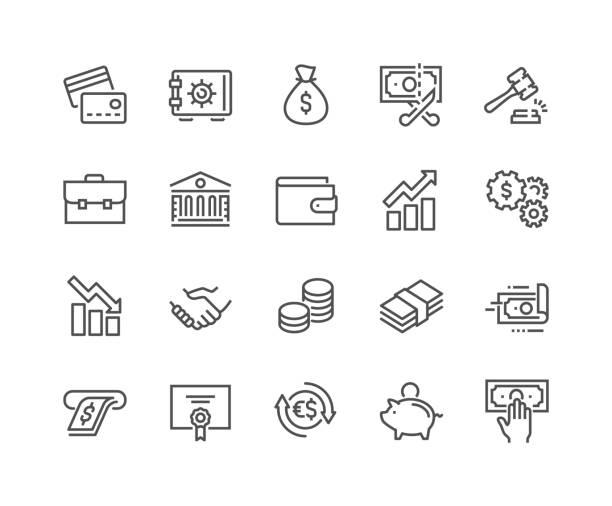 ilustrações, clipart, desenhos animados e ícones de ícones de finanças de linha - money