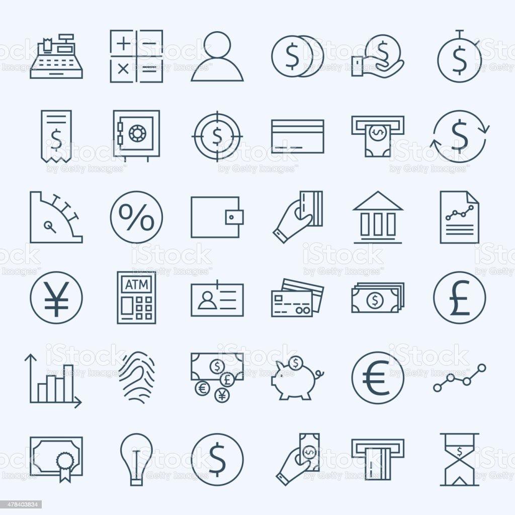 Line Finance Money and Banking Icons Set vector art illustration