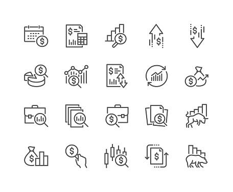Line Financial Analytics Icons