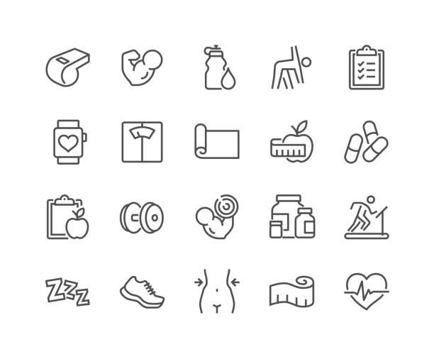 illustrazioni stock, clip art, cartoni animati e icone di tendenza di line fitness icons - esercizio fisico