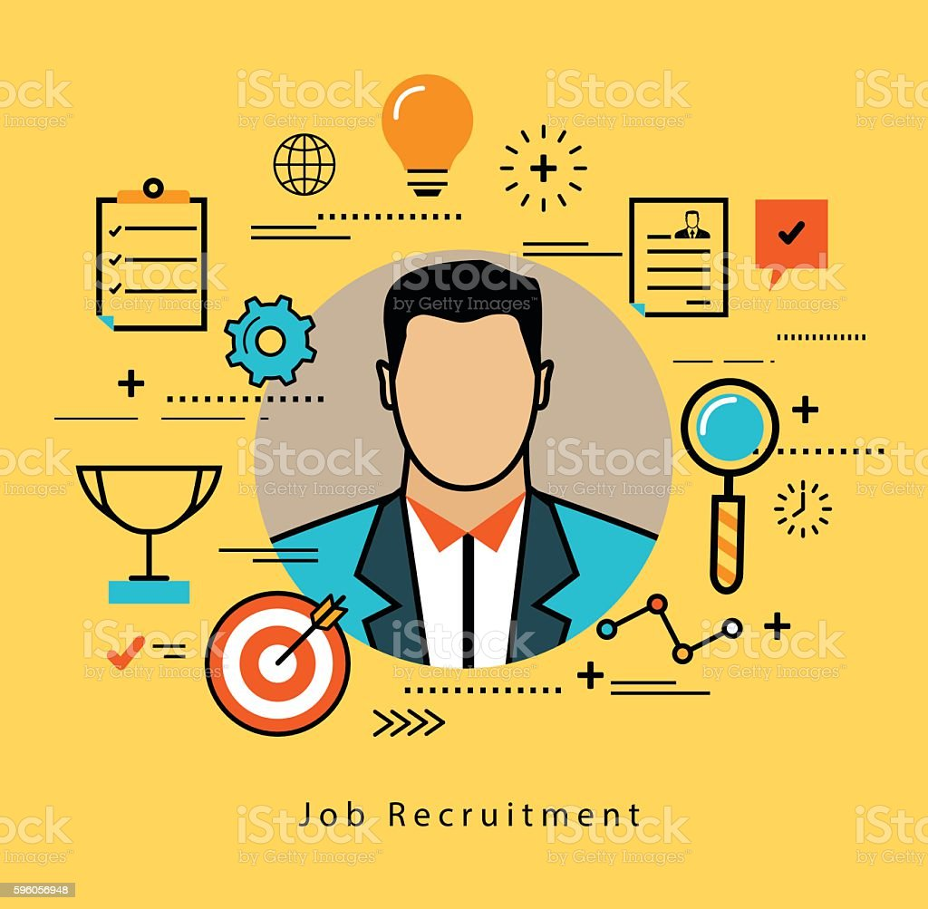 Line flat business design for job candidate evaluation and interview vector art illustration