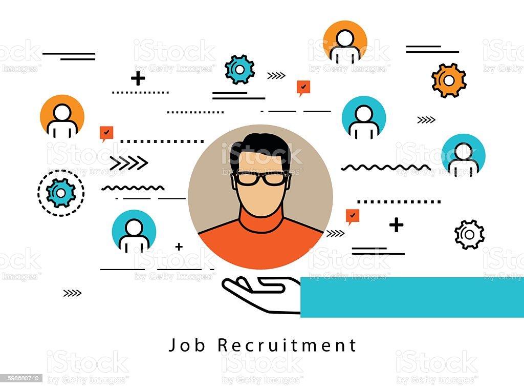 Line flat business design for job candidate evaluation vector art illustration