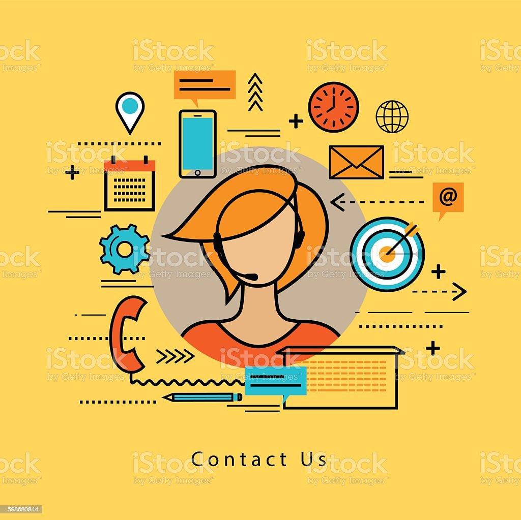 Line flat business design for online customer support vector art illustration