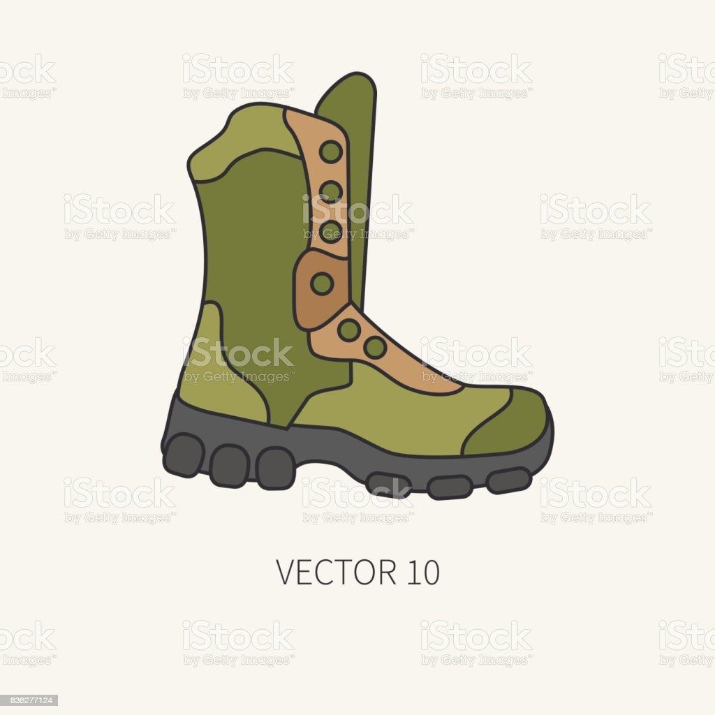 Línea plana color vector caza y camping icono - botín. Equipo de Hunter 8748a141629