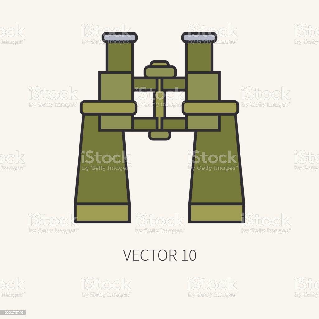 Línea de binoculares de icono de vector caza y camping de color plano.  Equipo de c02de516ce2
