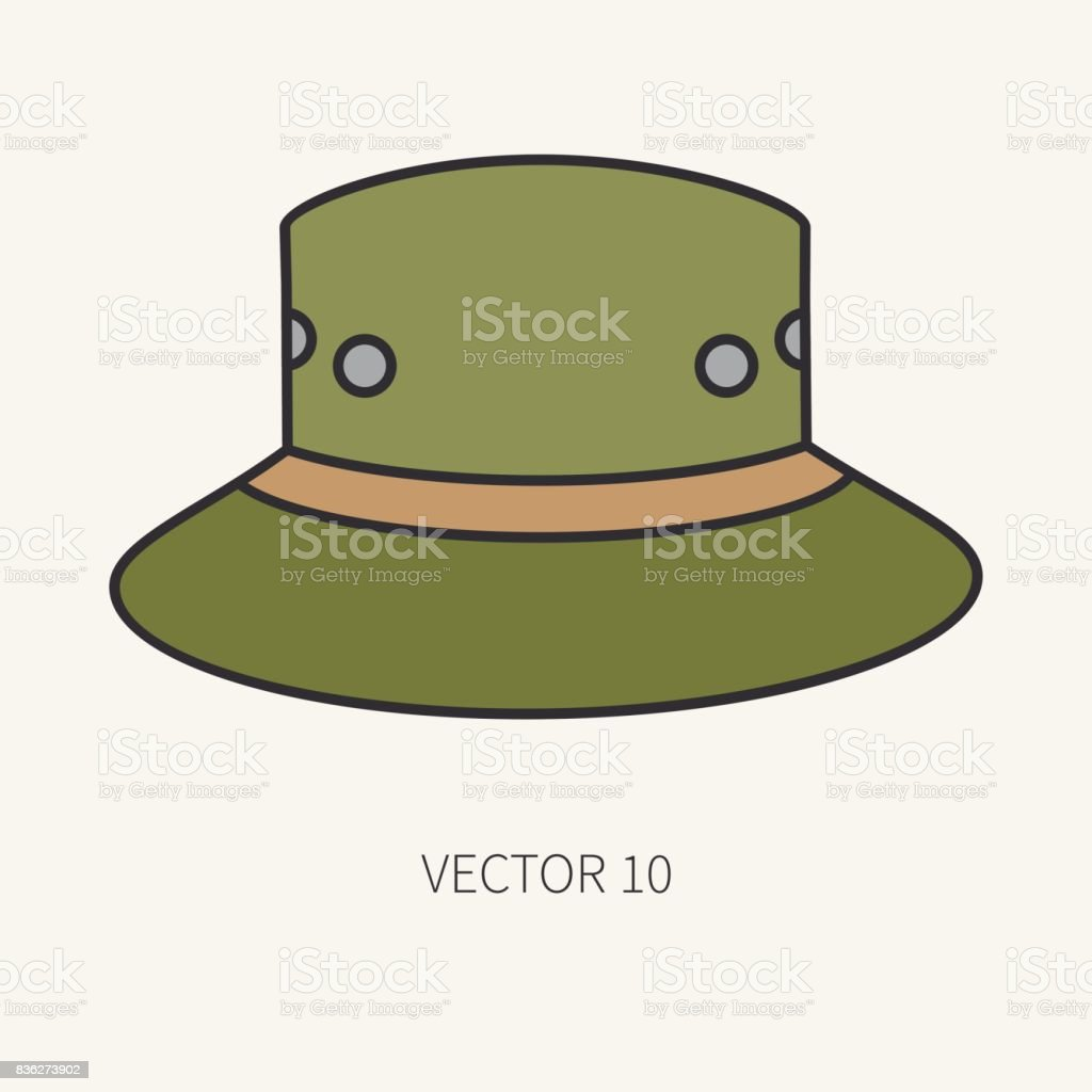 c5217c482e4 Line Flat Color Vector Hunt And Camping Icon Hat Cap Beret Hunter ...