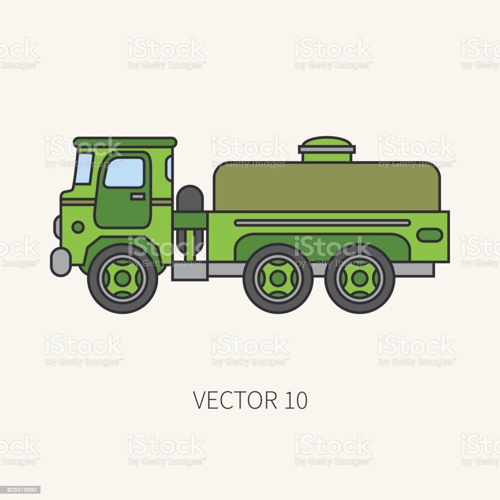 Línea Plana Color Vector Icono Servicio Personal Avión Camión De ...