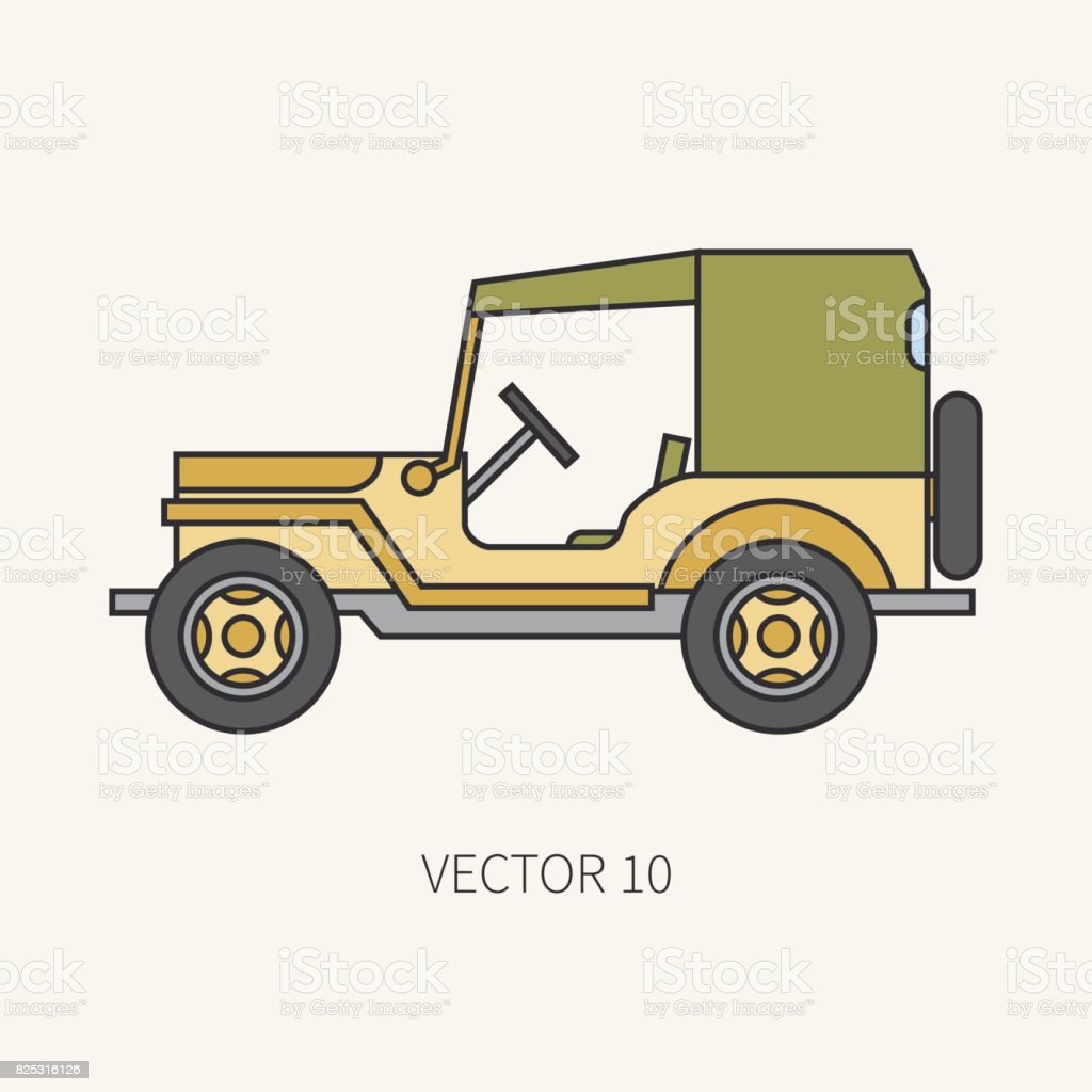 Line flat color vector icon service staff tarpaulin body army car. Military vehicle. Cartoon vintage style. Cargo transportation. Tractor unit. Tow. Simple. Illustration and element for your design. vector art illustration