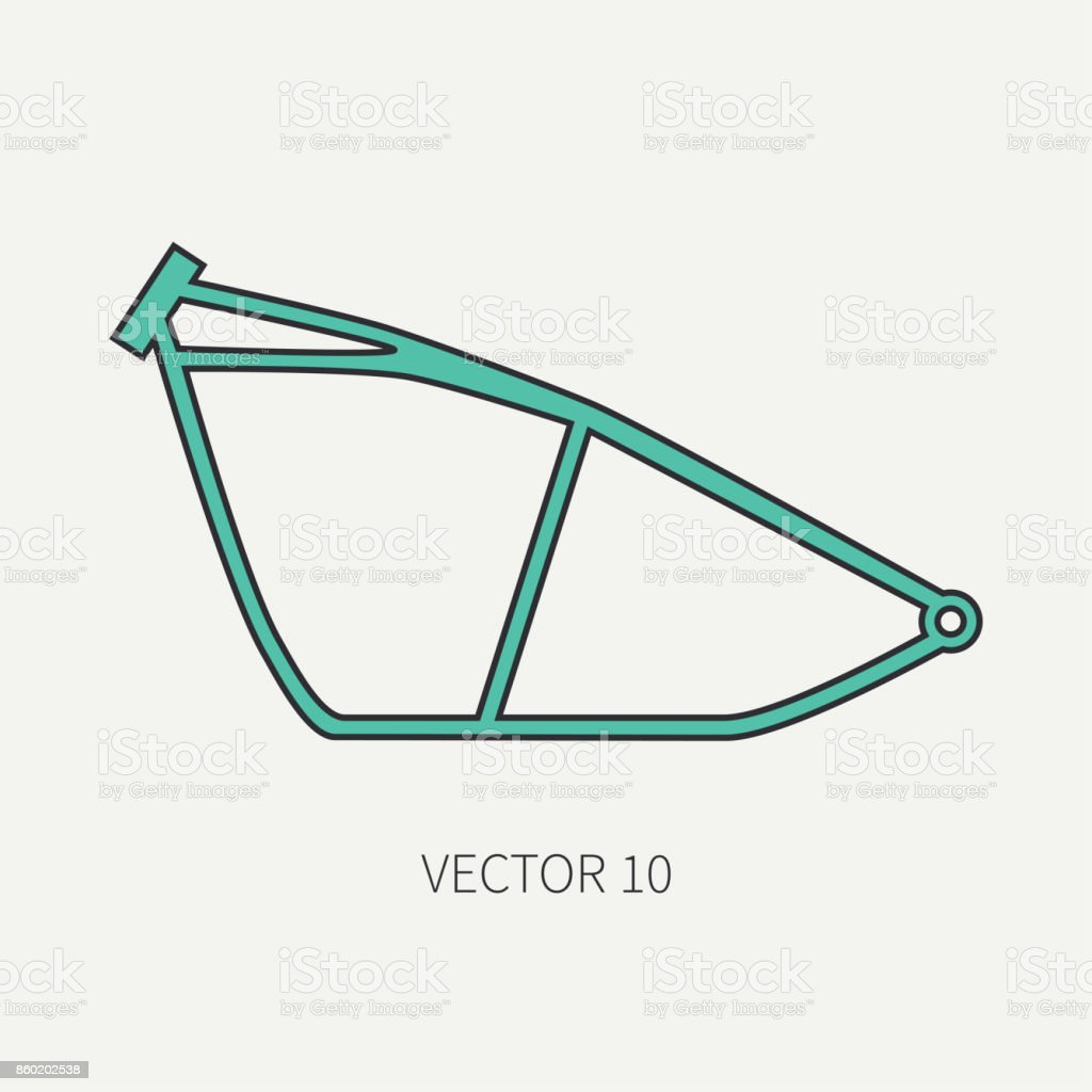 Linie Flach Farbe Vektor Motorrad Symbol Motorrad Fahrwerk Legendäre ...