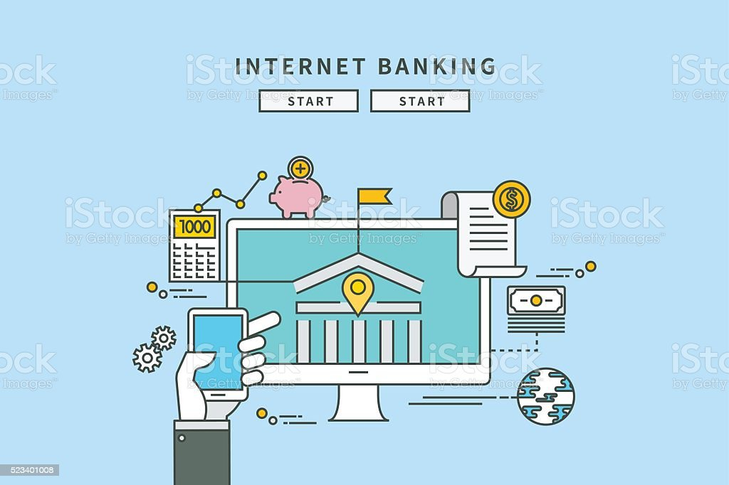 line flat design of internet banking vector art illustration