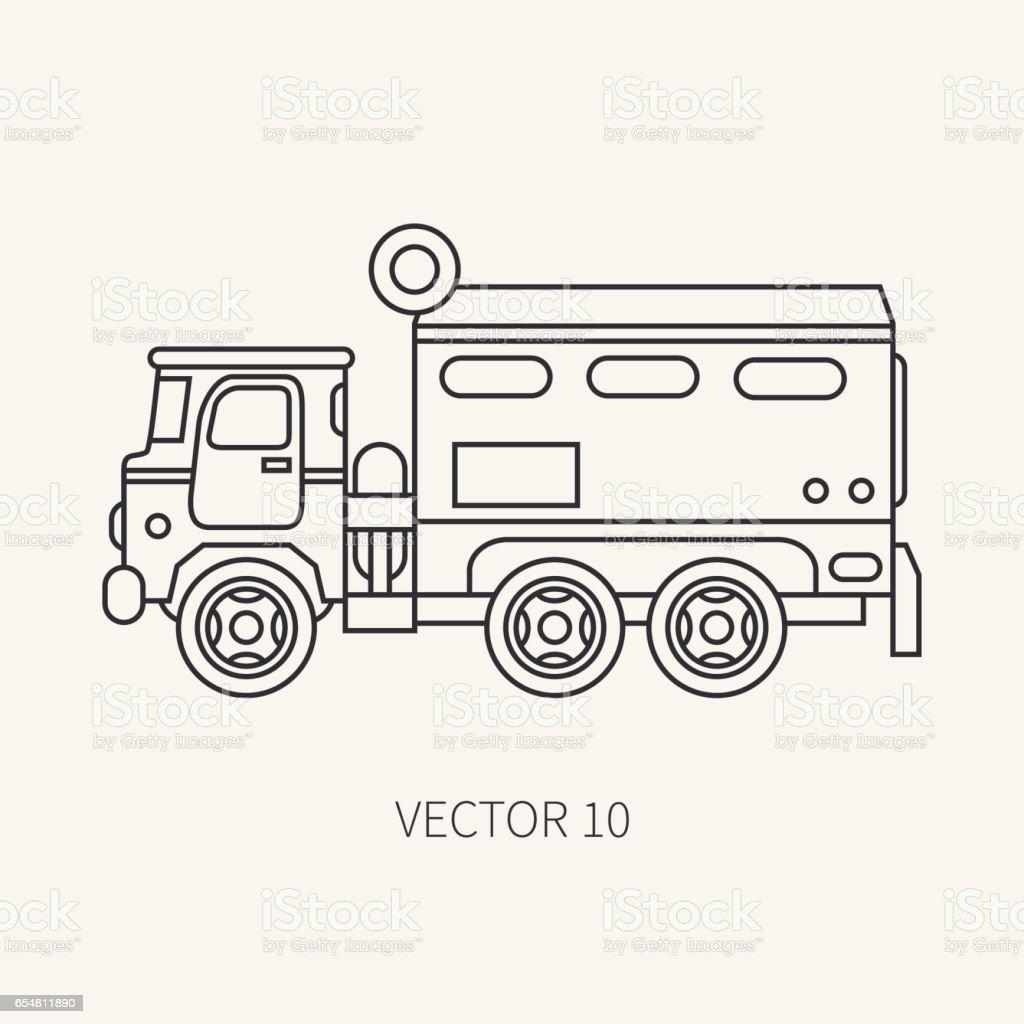 Ilustración de Línea Plana Simple Vector Icono Blindado Carro ...