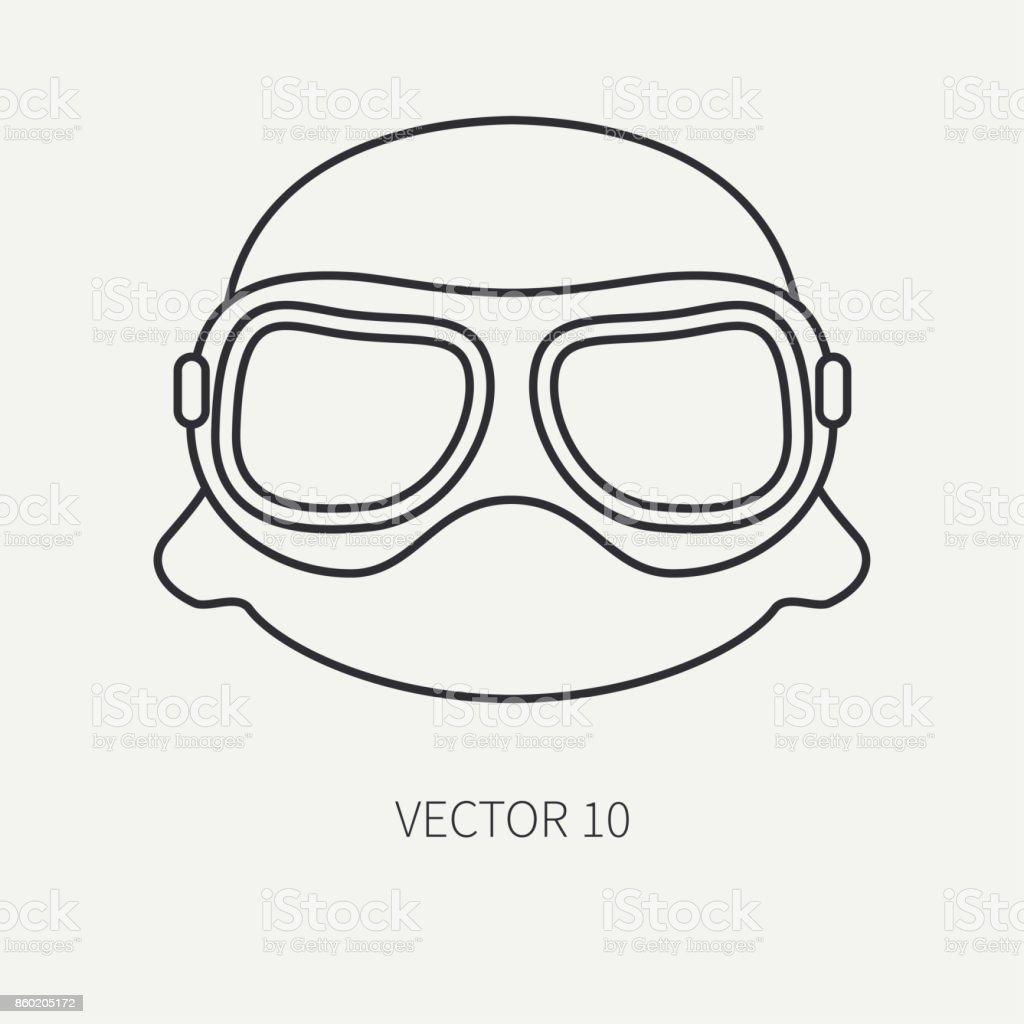フラット プレーン ベクトル アイコン ヘルメットメガネの行します伝説