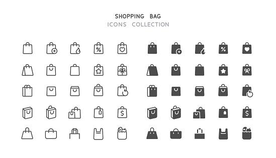 Line & Flat Shopping Bag Icons