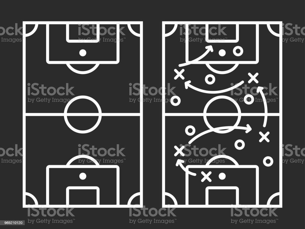 Line flat simple sport soccer field with arrow strategy line flat simple sport soccer field with arrow strategy - stockowe grafiki wektorowe i więcej obrazów czynność royalty-free