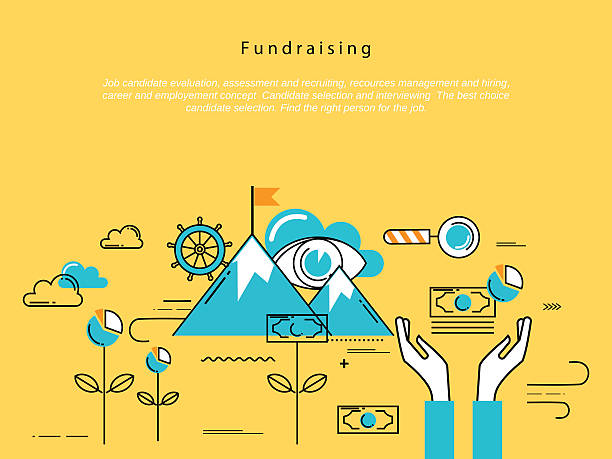Line flat vector business design for fundraising and donation vector art illustration