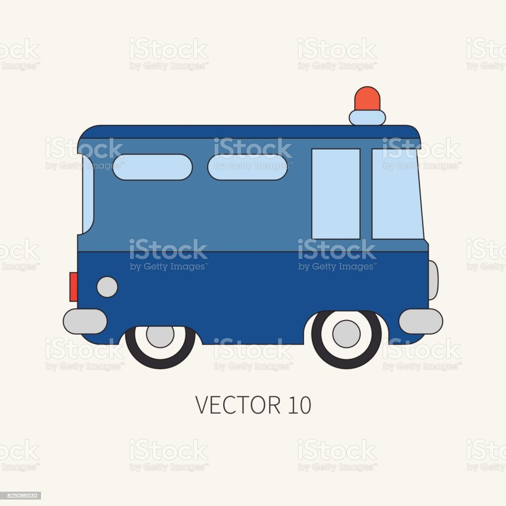 line flat vector color icon police truck special purpose