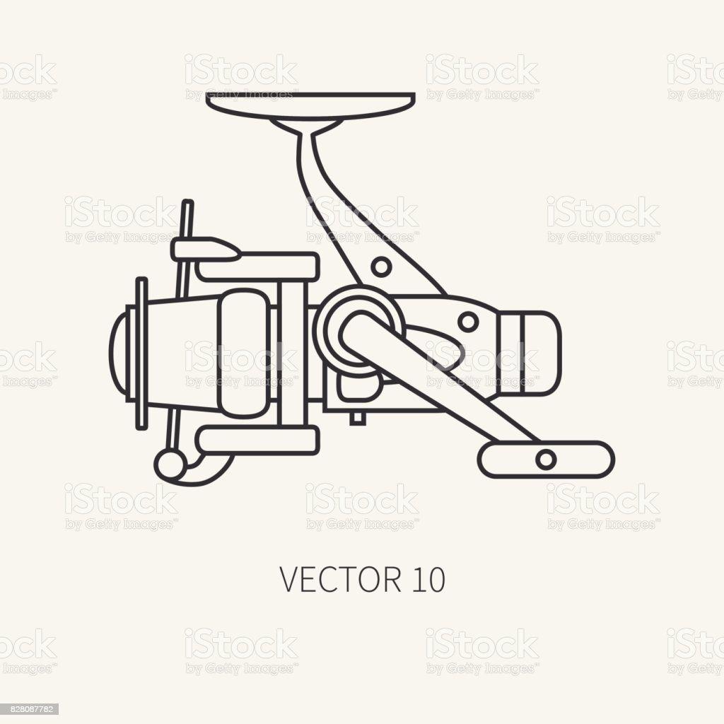 Ilustración de Línea Vector Plano Fisher E Icono Camping Pesca ...