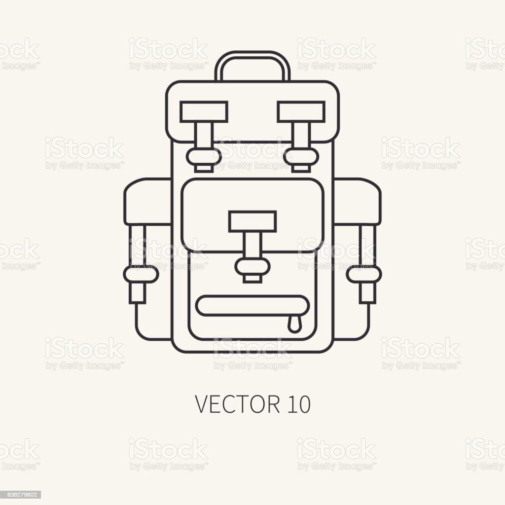 Línea vector plano caza y camping icono - mochila. Equipo de Hunter 0c3d5766409