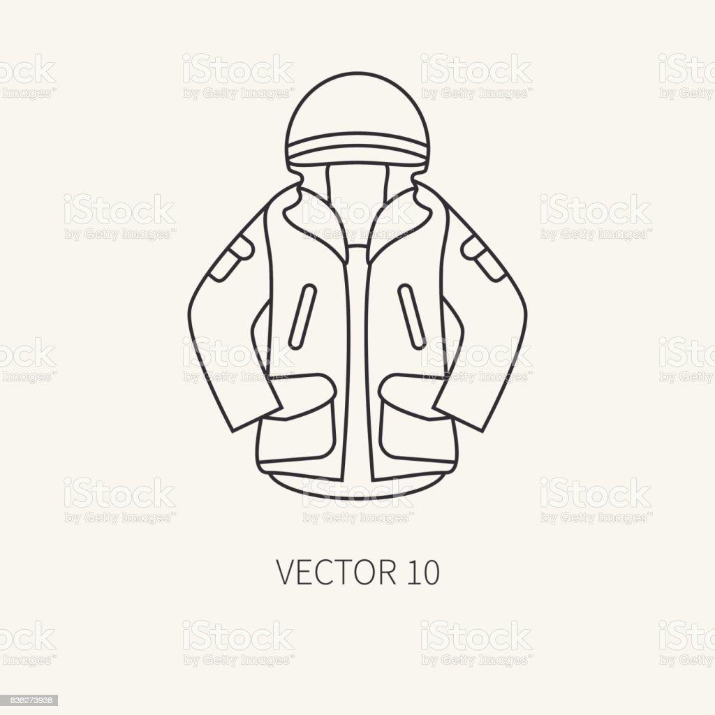 Línea vector plano caza y camping icono color caqui chaqueta. Equipo de  Hunter c275bba880c