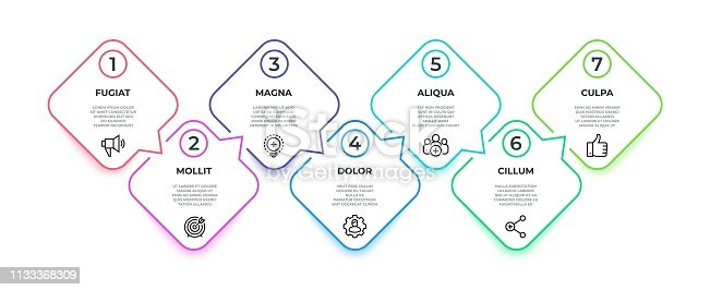 Line flow infographic. 7 steps square timeline milestone graphic, presentation banner concept. Vector 7 options workflow infographic
