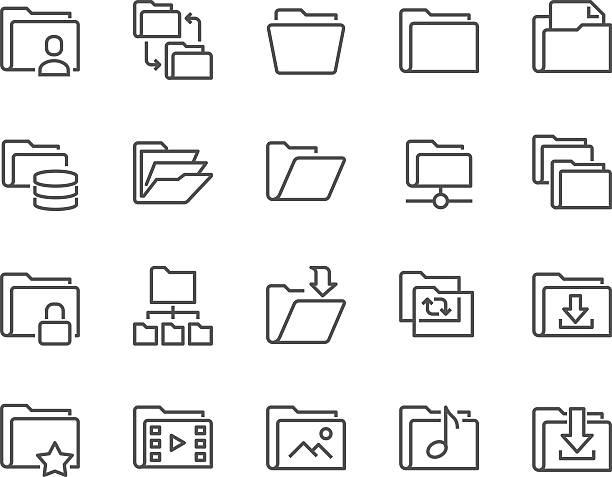 linia ikony folderu - broszura stock illustrations