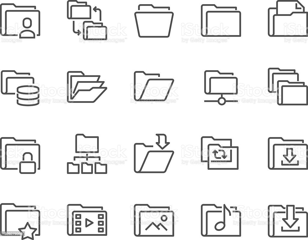 Line Folder Icons vector art illustration