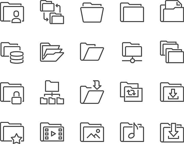 Line Folder Icons Simple Set of Folders Related Vector Line Icons. Contains such Icons as Repository, Sync, Network Folder and more. 48x48 Pixel Perfect.  telephone directory stock illustrations