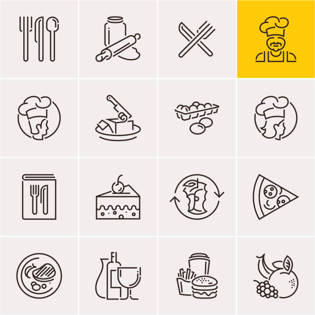 illustrazioni stock, clip art, cartoni animati e icone di tendenza di line food icons set, cooking - galateo a tavola