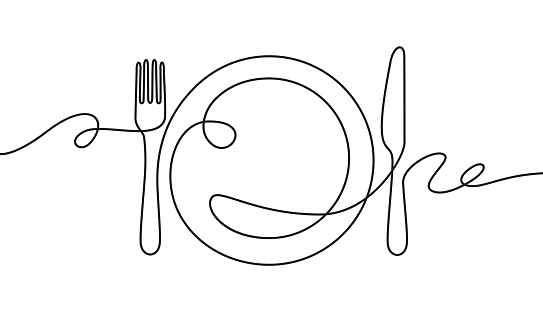 Line fork, knife and plate. Continuous one line drawing cutlery, cooking utensils restaurant logo menu linear style art vector concept.
