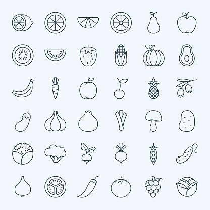 Line Fruit Vegetable Icons Set