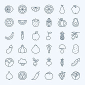 Line Fruit Vegetable Icons Set
