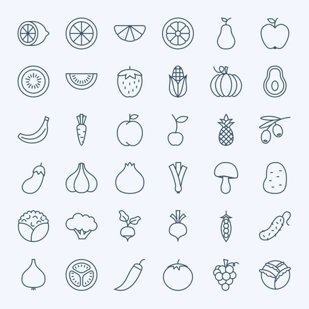 line fruit vegetable icons set - fruit stock illustrations, clip art, cartoons, & icons