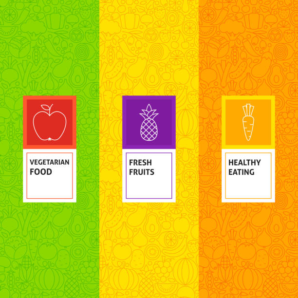 Line Fruit Vegetable Patterns Set Line Fruit Vegetable Patterns Set. Vector Illustration of Logo Design. Template for Packaging with Labels. fruit designs stock illustrations