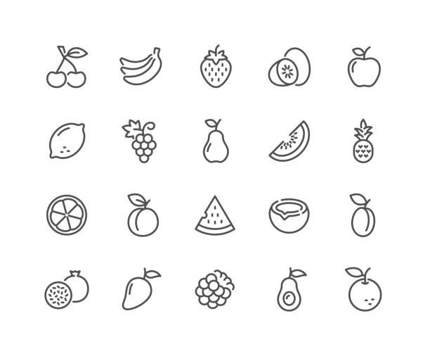 bildbanksillustrationer, clip art samt tecknat material och ikoner med line frukter ikoner - hallon