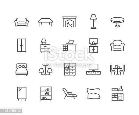 Simple Set of Furniture Related Vector Line Icons.  Contains such Icons as Sofa, Table, Floor Light and more. Editable Stroke. 48x48 Pixel Perfect.