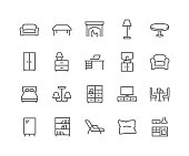 Simple Set of Furniture Related Vector Line Icons. \nContains such Icons as Sofa, Table, Floor Light and more.\nEditable Stroke. 48x48 Pixel Perfect.