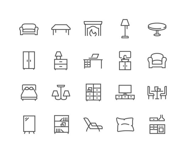 Line Furniture Icons Simple Set of Furniture Related Vector Line Icons.  Contains such Icons as Sofa, Table, Floor Light and more. Editable Stroke. 48x48 Pixel Perfect. armchair stock illustrations