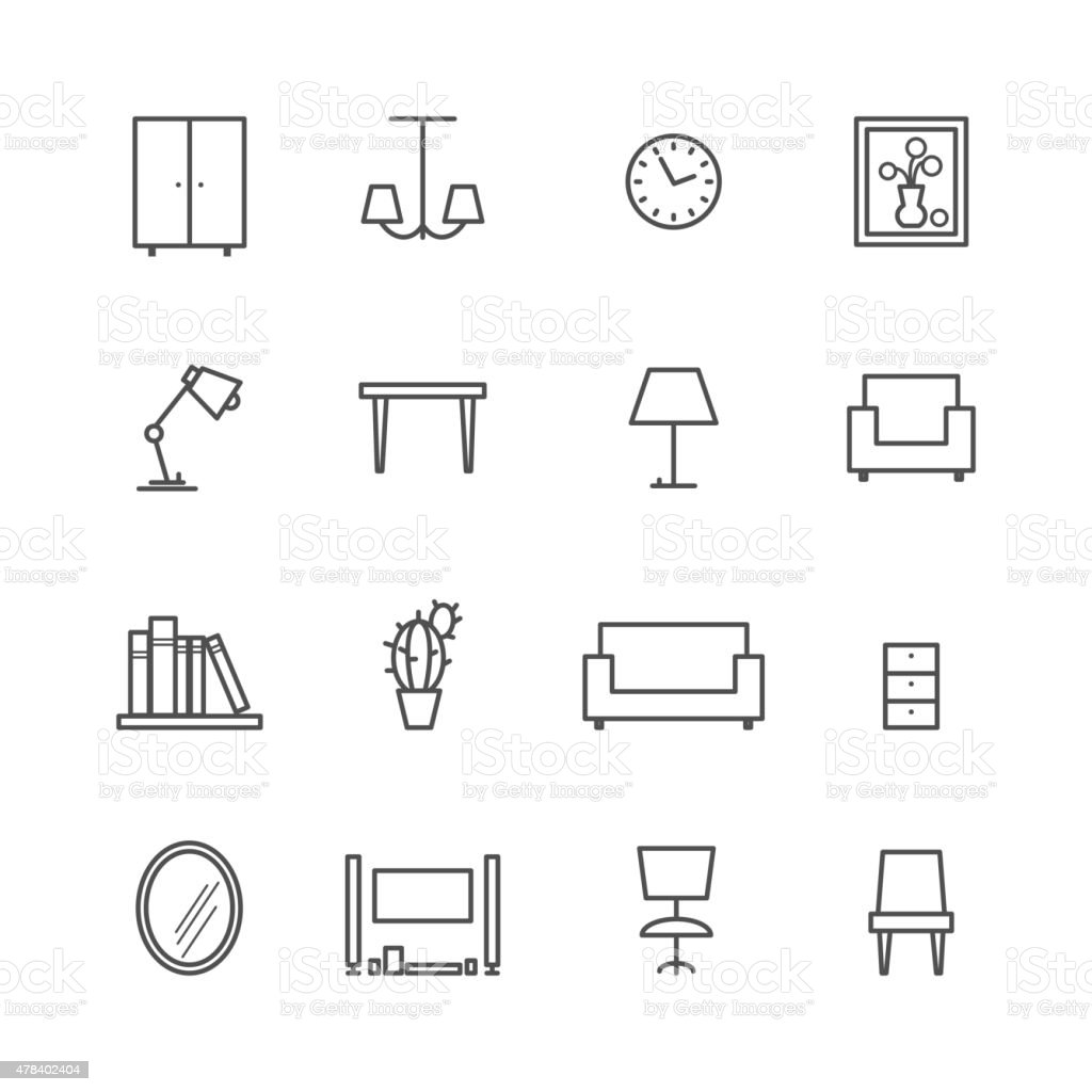 Line furniture icons vector art illustration