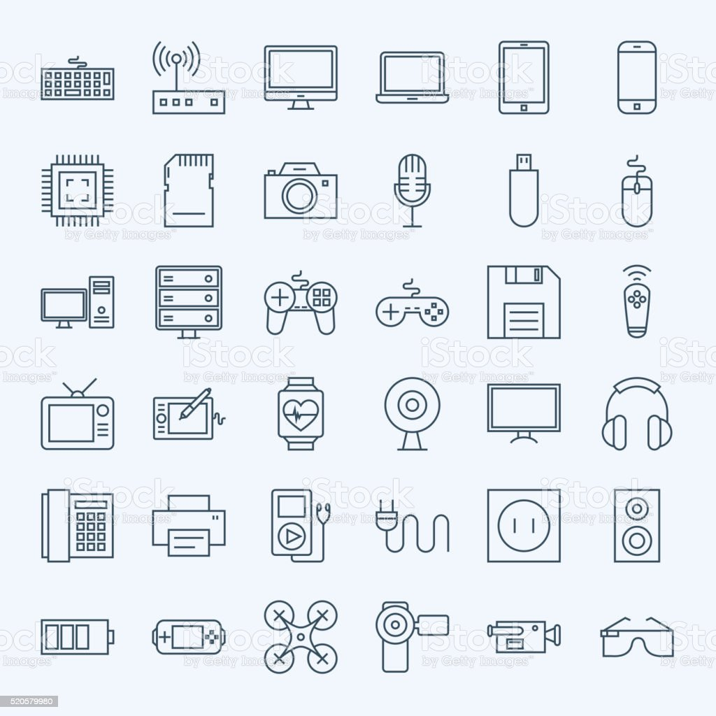 Line Gadgets and Devices Icons Set vector art illustration