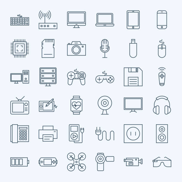 bildbanksillustrationer, clip art samt tecknat material och ikoner med line gadgets and devices icons set - illustrationer med headphones