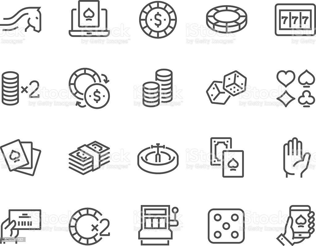 Line Gambling Icons vector art illustration