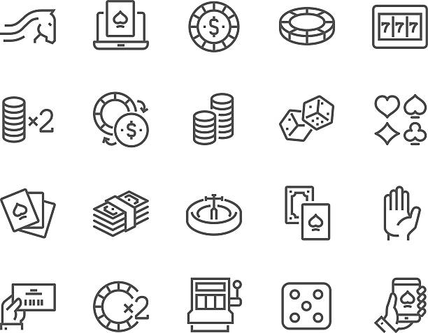 Line Gambling Icons Simple Set of Gambling Related Vector Line Icons. Contains such Icons as Slot Machine, Roulette, Dice, On Line Poker and more. Editable Stroke. 48x48 Pixel Perfect. gambling stock illustrations