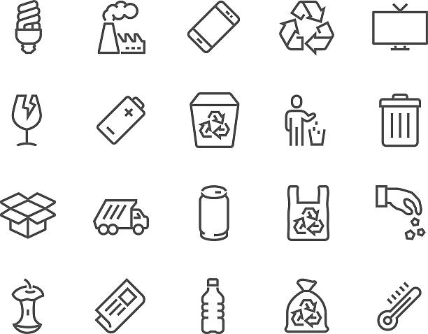 Line Garbage Icons vector art illustration