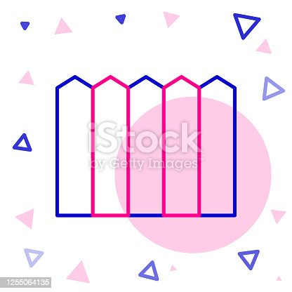 Line Garden fence wooden icon isolated on white background. Colorful outline concept. Vector Illustration
