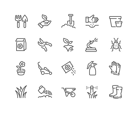 Line Gardening Icons