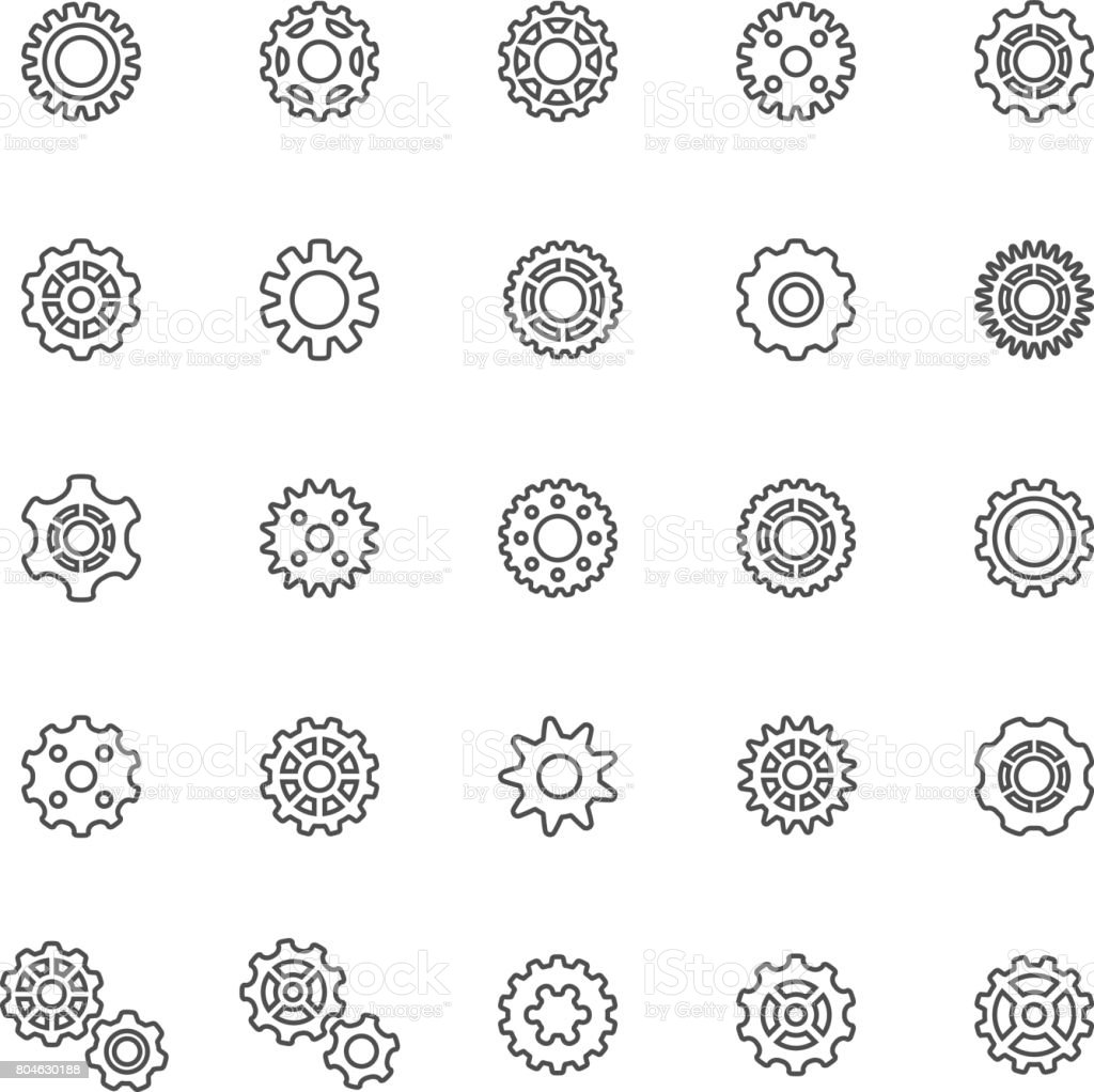 Line Gear Icons vector art illustration