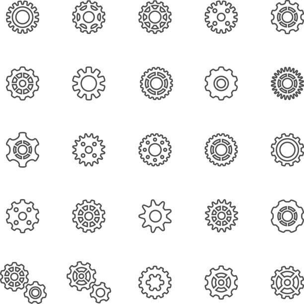 Line Gear Icons vector art illustration