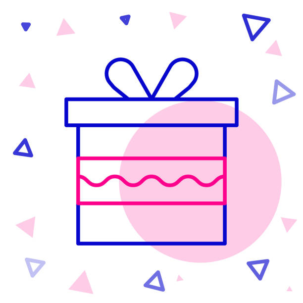 Line Gift box icon isolated on white background. Happy Birthday. Colorful outline concept. Vector Illustration Line Gift box icon isolated on white background. Happy Birthday. Colorful outline concept. Vector Illustration anniversary clipart stock illustrations