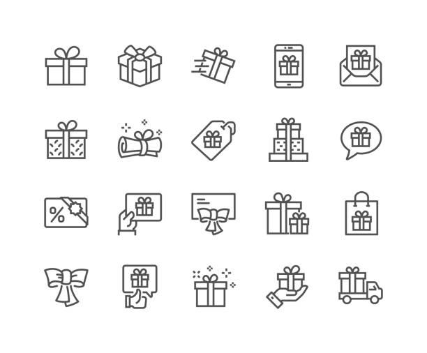 ilustrações, clipart, desenhos animados e ícones de linha presentes ícones - presente