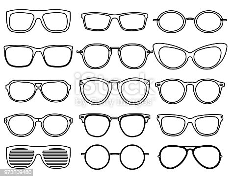 Line glasses icons. Wear fashion eyeglass, optical design sunglass, accessory object, vector illustration EPS